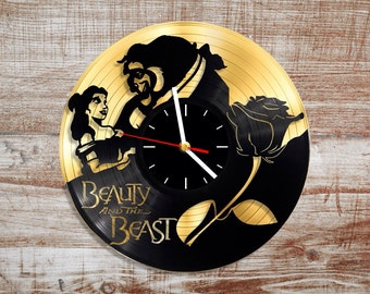 Beauty and the beast vinyl wall clock. Gold record.