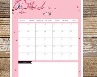 "12 Month Printable Calendar, PDF Instant Download 8 1/2"" x 11"""