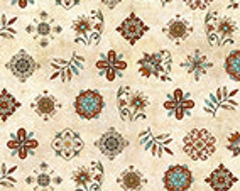 1649-24217-E IN BLOOM WESTERN Fabric - Wild Flowers, Cream Background Rust Flowers, Cowboy Fabric, Quilting Treasures, Country Western