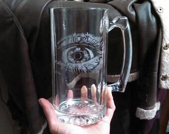 Etched Eyeball Glass Mug, Bizarre