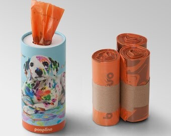 "NOVELTY!  pooplino storage box ""Theo"" - waste bag dispenser + 200 eco-friendly dog waste bags / sanitary bags / waste bags / bags of feces"