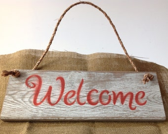 Welcome Sign Handmade Distressed