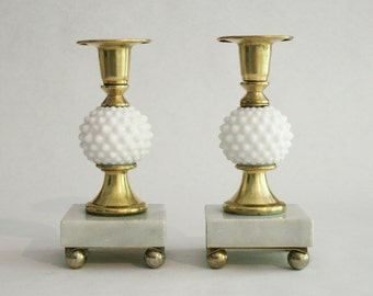 Vintage Milk Glass Hobnail & Brass Candlestick Holders