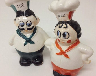 Salt and Pepper Shakers Man and Woman Chef Couple 1950's Kitsch Vintage Japan