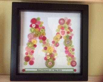 Personalised Button Letter Art ideal for Birthday/Christening/New baby/Teacher