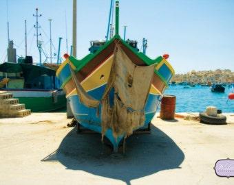 Boats of Marsaxlokk, Malta, island on the Mediterranean sea