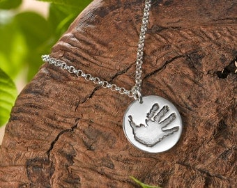 Silver necklace with Handprint pendants