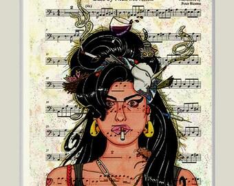amy winehouse print on music sheet