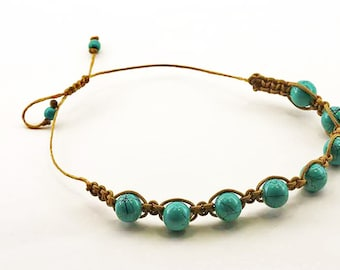 Turquoise Beads on Brown
