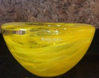 Vintage Kosta Boda Yellow Glass Art Mini Bowl