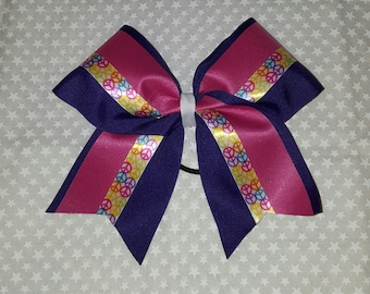 """Pink/Purple Peace 3"""" Cheer Bow"""