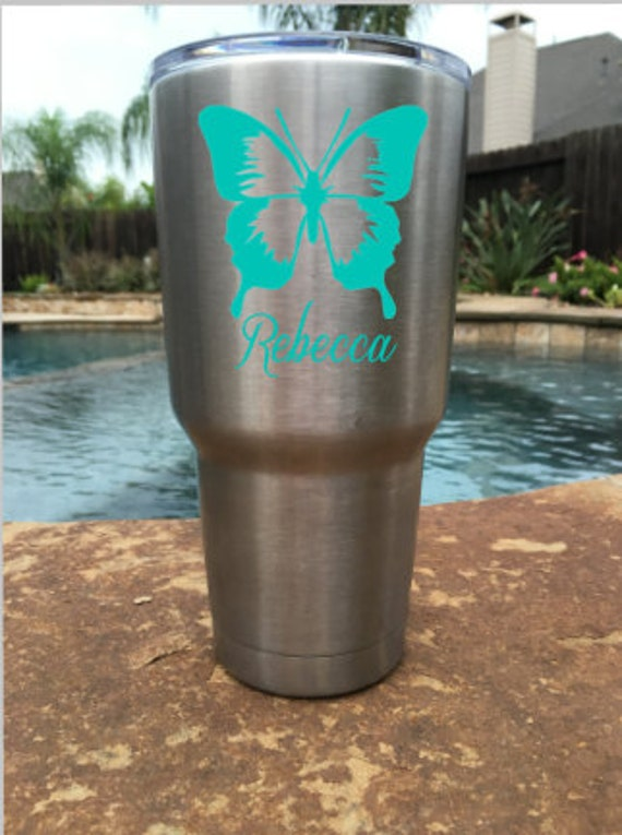 Personalized Butterfly Vinyl Decal For YETI Corkcicle RTIC - Butterfly vinyl decals