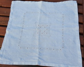SALE: Swedish vintage hand embroidered linen tablecloth, doily