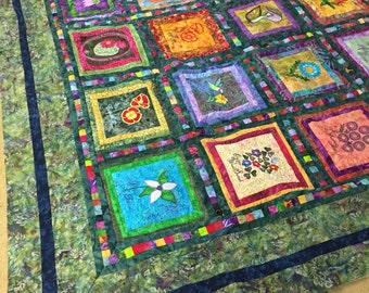 Embroidered wildflower quilt