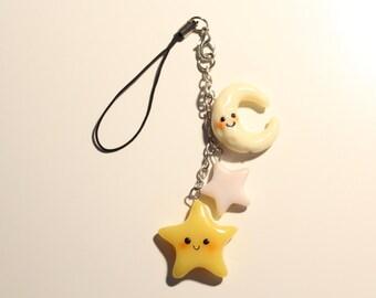 Kawaii glow in the dark stars and moon cell phone charm