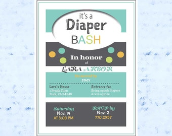 Baby Shower Invite, Baby Bash, Diaper Bash