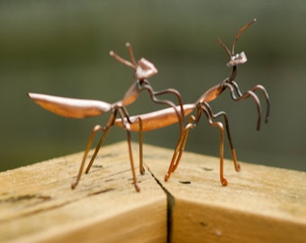 Copper Art Figurine set of praying mantis