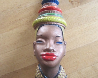 Mid century modern 50s African beauty wall mask