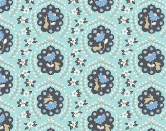 Bunny Fabric | Cute Bunny Rabbit Fabric | Blue | Rabbits and Flowers | Baby Girl Fabric | Nursery Decor | Little White Rabbit Print | Floral