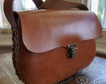Genuine Vegetable Tanned Leather Handbag, Tan Colour, Handmade with Metal Rivets