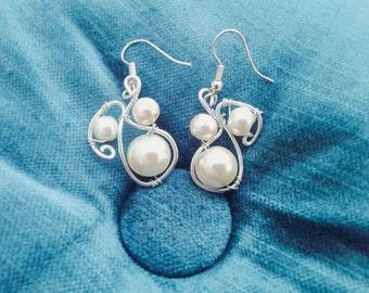 Pearl earrings creative wire design gift ideas
