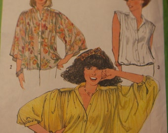 Vintage Simplicity Pattern 8348, Sewing Pattern, Boho Pattern, Blouse Pattern, Peasant Blouse Pattern, Blouse Sewing Pattern, Boho Tops