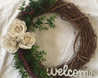 Rustic Summer and Fall Wreath