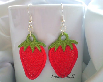 FSL Strawberry Free Standing Lace Machine Embroidery design 4x4hoop - 1 size, for earrings/charms/for keychain/slider zipper/jewelry