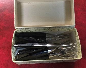 12 x Stainless Steel Dessert Forks with Bakelite handles