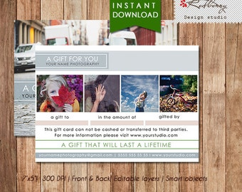 Photography Studio Gift Certificate Template, Photography Gift Card Template