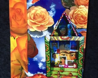 Frida Altar and Roses  Collage Greeting Card