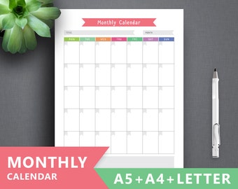 "Monthly Planner Printable ""PLANNER CALENDAR"" Letter A4 A5 Monthly Insert, To do list Month Calendar Filofax Calendar Insert, Month Planner"