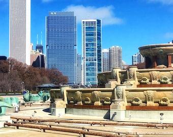 Chicago Buckingham Fountain, Skyscrapers, Big City, Chicago Photography, City Photography, Chicago Wall Art, Chicago Prints