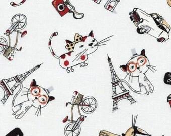 Paris Theme Fabric - Eiffel tower triumphal arch Timeless Treasure Paris Cats C3720 So Cute 100% cotton fabric by the yard (G72)