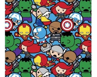 "Marvel Fabric : Kawaii Marvel - Avengers Characters All In The Pack 16004  100% cotton Fabric by the yard 36""x44"" (SC574)"