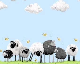 "Susybee Fabric / Nursery Fabric : Lewe, the ewe - sheep on green grass border under blue sky 100% cotton fabric by the yard 36""x42"" (A14)"