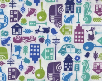 """Nursery Fabric : Around Town by Jenni Calo Town buildings Stripe Cars Fabric 100% cotton Fabric by yard 36""""x42"""" (A201)"""