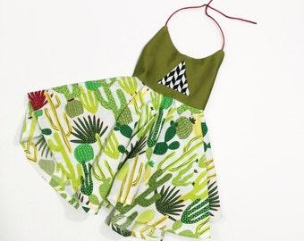 OOAK 12-18 month CACTUS DRESS| Green toddler dress| toddler summer dress| Twirl dress| halter dress| baby toddler halter dress| bright
