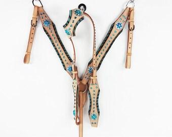 Handmade 1 Ear Turquoise Zebra Headstall Western Barrel Trail Horse Breast Collar Bridle Tack