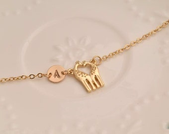 personalized necklace hand stamped giraffe initial necklace dainty delicate gold monogram necklace bridesmaid necklace