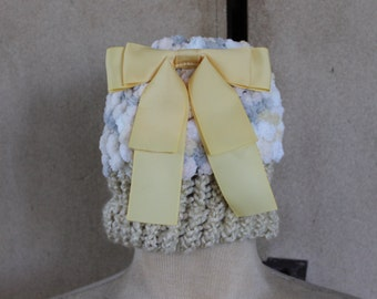 Baby Beannie, fancy chenile, yellow ribbon, baby gift,child beannie, brown, fancy