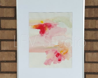Original Abstract Watercolor & Acrylic Painting Yellow Multi-color Series #003 Painting - LFV Studio