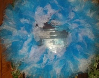Blue & white tulle wreath