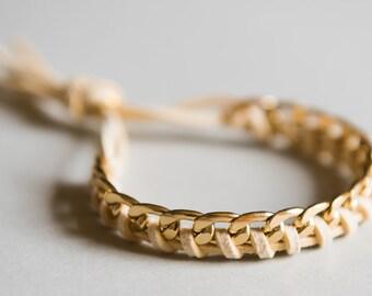 "Bracelet Braided ""Twist"" Gold and Cream"