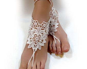 White Lace Barefoot Sandals. Foot Jewelry. Anklets. White lace Flower Motif. Beach Pool Party Accessory for Women and Teens. Set of 2 pcs.