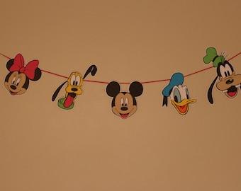 Disney Fab 5 Character Banner - Classic - Mickey, Minnie, Donald, Goofy, Pluto