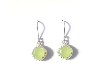sterling silver drop earrings, lime green crystal, Australian seller, on sale, gift for charity, green earrings,