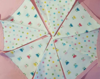 Nursery Bunting -Handmade fabric bunting - double sided - home decor  - playroom-  kids bedroom - pastel flower design