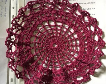 Spiderwed doily in plum crazy