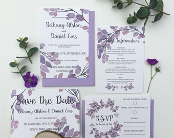 Violet Wedding Invitation Set - Sample Only